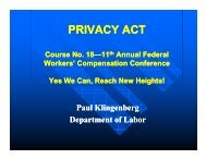 privacy act - 15th Annual Federal Workers' Compensation Conference
