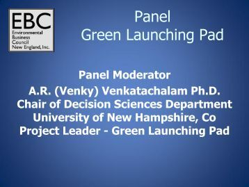 Panel Green Launching Pad - Environmental Business Council of ...