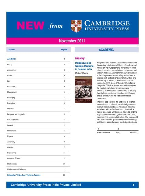 Newsletter November 2011 - Cambridge University Press India