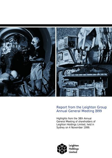Report from the Leighton Group Annual General Meeting 1999