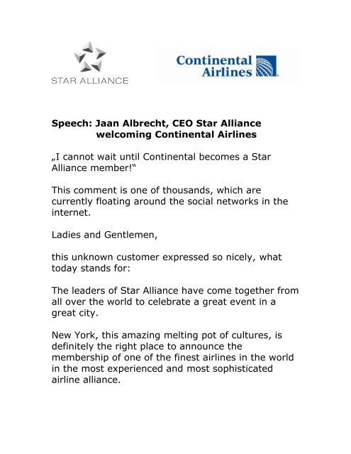 Jaan Albrecht, CEO Star Alliance welcoming Continental Airlines