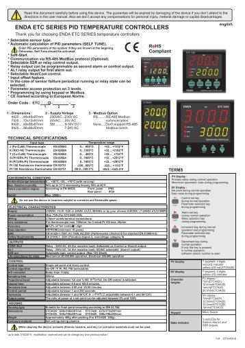 enda etc series pid temperature controllers - SURAN ...
