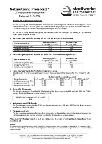 Preisblatt 01.04.2008 - Stadtwerke Ebermannstadt