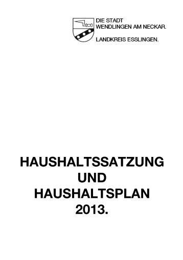 Deckblatt Haushaltssatzung und Haushaltsplan - Stadt Wendlingen ...