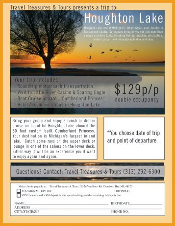 Houghton Lake $129p/p - Travel Treasures & Tours