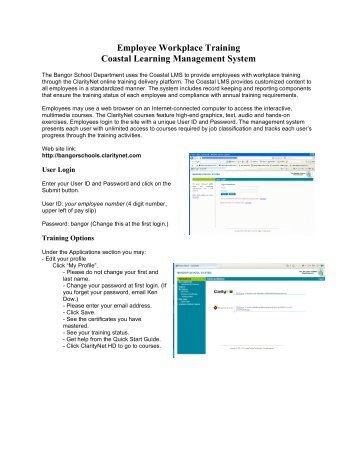 (PDF) ClarityNet Instructions - Bangor School System