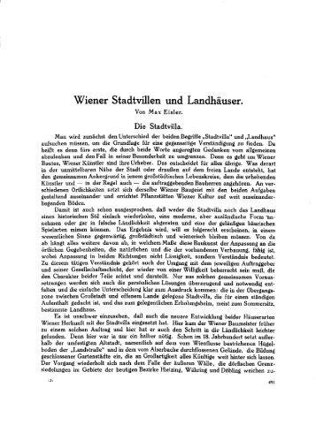 Wiener Stadtvillen und Landhäuser.