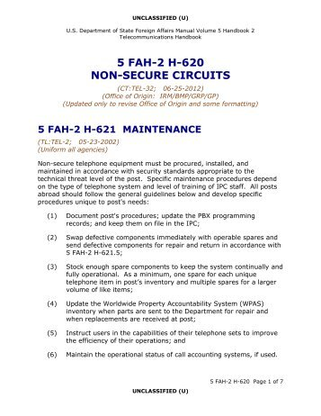 5 FAH-2 H-620 Managing Telephone Networks - Non-Secure Circuits