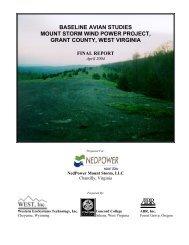 baseline avian studies mount storm wind power project - WEST, Inc.