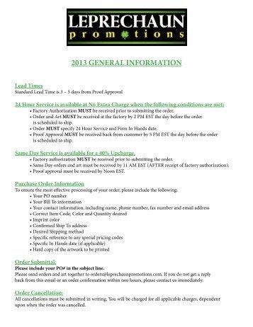 2013 GENERAL INFORMATION - Leprechaun Promotions
