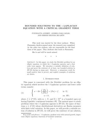 BOUNDED SOLUTIONS TO THE 1–LAPLACIAN EQUATION WITH ...