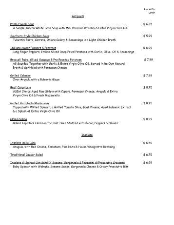 Lunch Menu - Calandra Italian & French Bakery