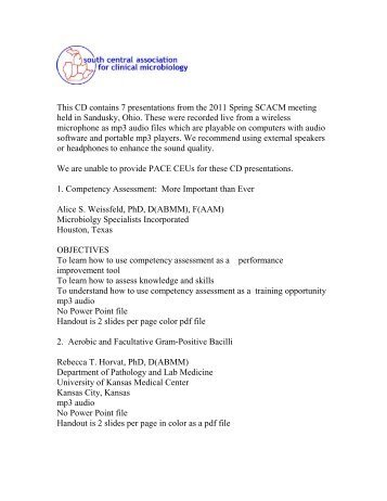 2011 SCACM Spring meeting CD order form - South Central ...