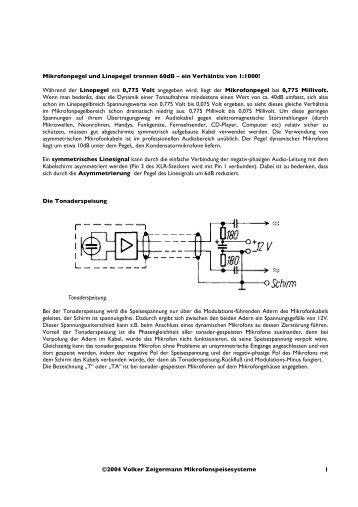 ©2004 Volker Zeigermann Mikrofonspeisesysteme 1 Mikrofonpegel ...