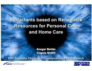 Surfactants based on Renewable Resources for ... - Chemspec Events