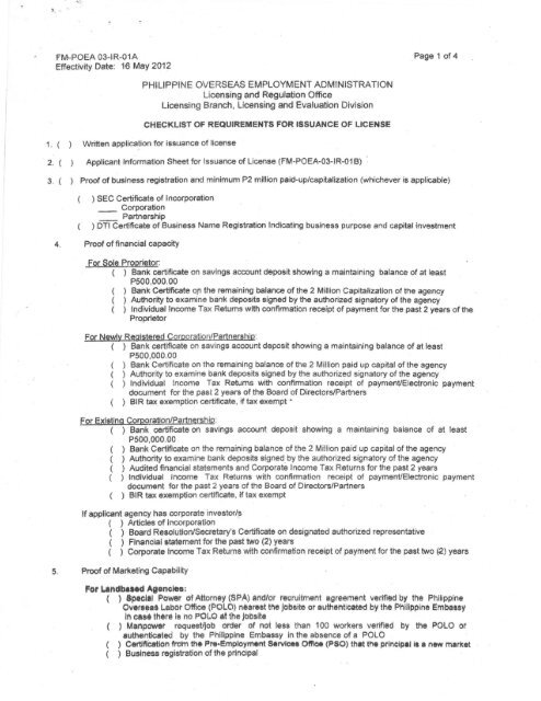 Checklist of Requirements for Issuance of License