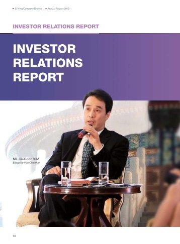 2012 Investor Relations Report - Li Ning