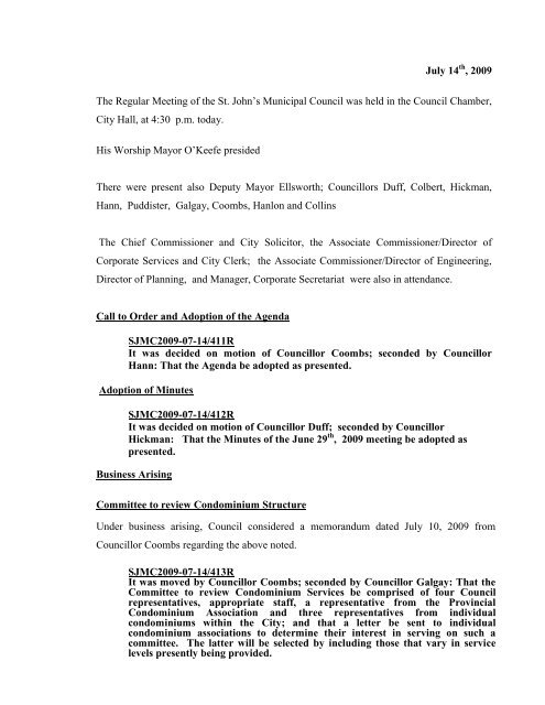 Council Minutes Tuesday, July 14, 2009 - City of St. John's