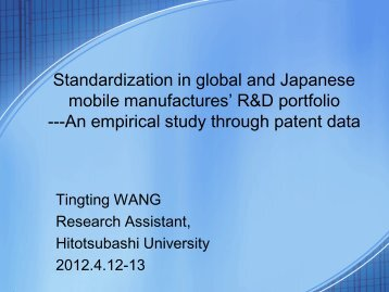 Standardization in global and Japanese mobile manufactures' R&D ...