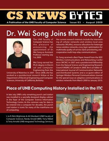 CS NEWS - CS - University of New Brunswick