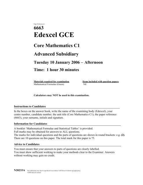 C1 Past Paper 3 - Maths Teaching