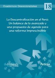 Cuaderno Descentralista # 18: La descentralización en el Perú
