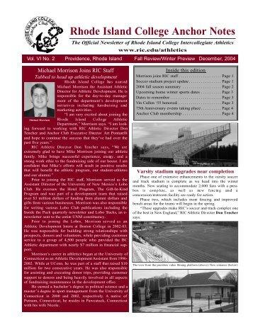 Issue #21 - Winter 2004 - Rhode Island College Athletics