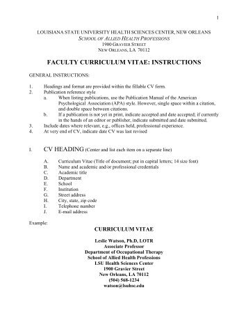 faculty curriculum vitae: instructions - School of Allied Health ...