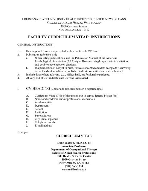 Writing a Curriculum Vitae (CV)