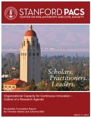 Outline of a Research Agenda - Stanford Center for Philanthropy ...