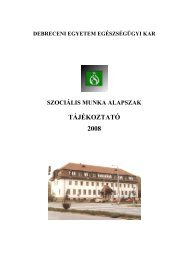 Szociális Munka Alapszak - Szaki Tájékoztató ... - Egészségügyi Kar
