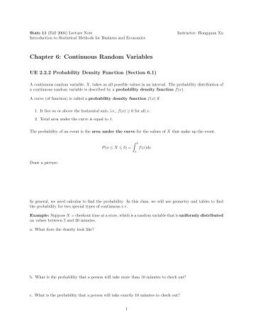 Chapter 6: Continuous Random Variables - UCLA Statistics