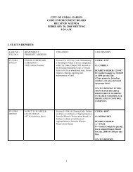 Code Enforcement Status Reports 022008 - City of Coral Gables