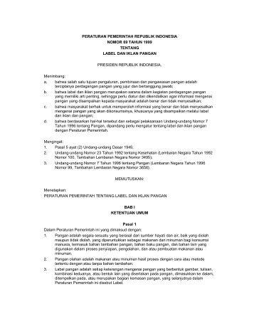 PERATURAN PEMERINTAH REPUBLIK INDONESIA NOMOR 69 ...
