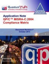 QP/C MISRA-C:2004 Compliance Matrix - Quantum Leaps