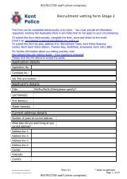 Recruitment vetting form Stage 2 - Kent Police