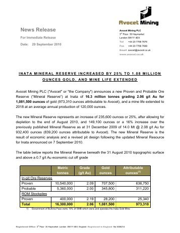 Inata Mineral Reserve Increased By 25% To 1.08 Million Ounces ...