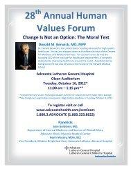 28 Annual Human Values Forum - Rosalind Franklin University