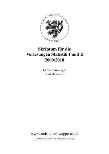 Skriptum für die Vorlesungen Statistik I und II 2009/2010