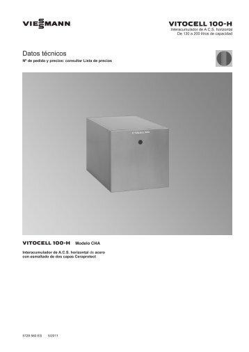 Datos técnicos Vitocell 100 CHA441 KB - Viessmann