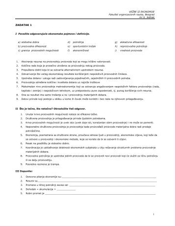 1 ZADATAK 1 - Ekonomija - Fakultet organizacionih nauka