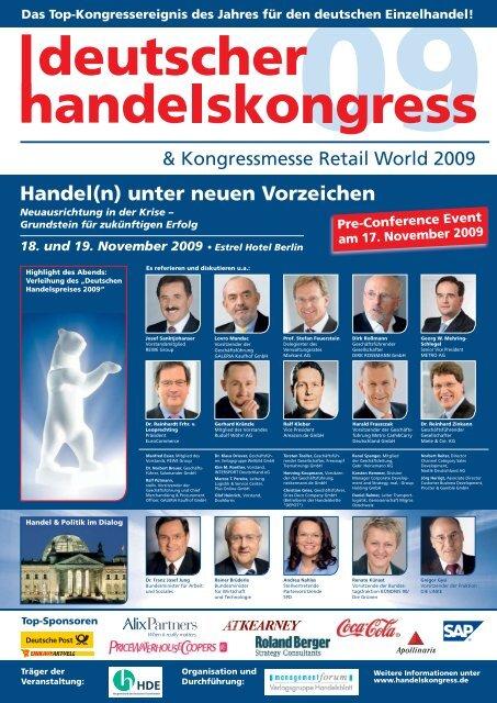 Handel(n) unter neuen Vorzeichen - deutscher handelslskongress ...