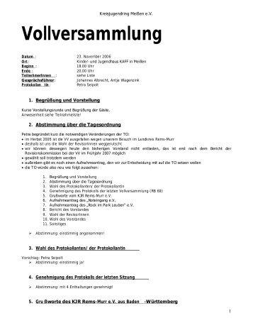 Protokoll der Vollversammlung vom 23.11.2006 - Kreisjugendring ...