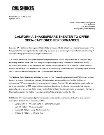 Cal Shakes to offer open-captioned performances - California ...