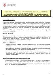 Línia Promoció d'Activitats Esportives - Ajuntament de Lleida