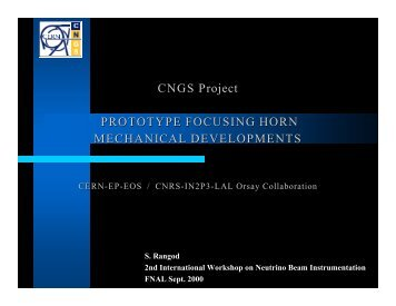 CNGS Project PROTOTYPE FOCUSING HORN ... - CNGS - CERN