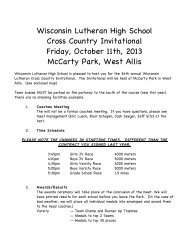 Wisconsin Lutheran High School Cross Country Invitational Friday ...