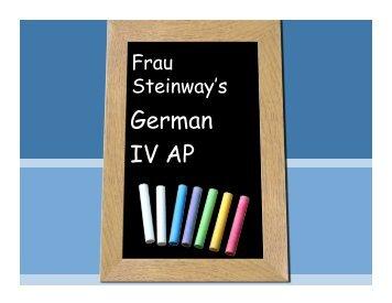 German IV AP Overview - Howard High