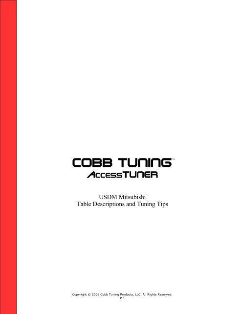 Mitsubishi AccessTUNER Help File - Cobb Tuning