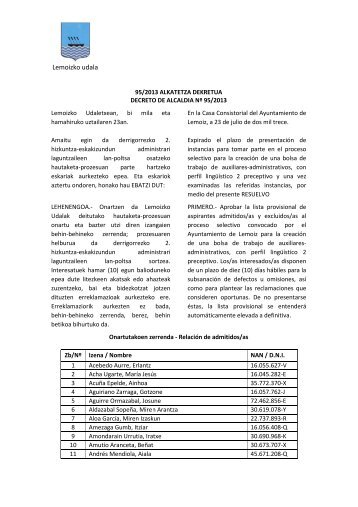 95/2013 ALKATETZA DEKRETUA (PDF - 140 Kb) - Lemoizko Udala